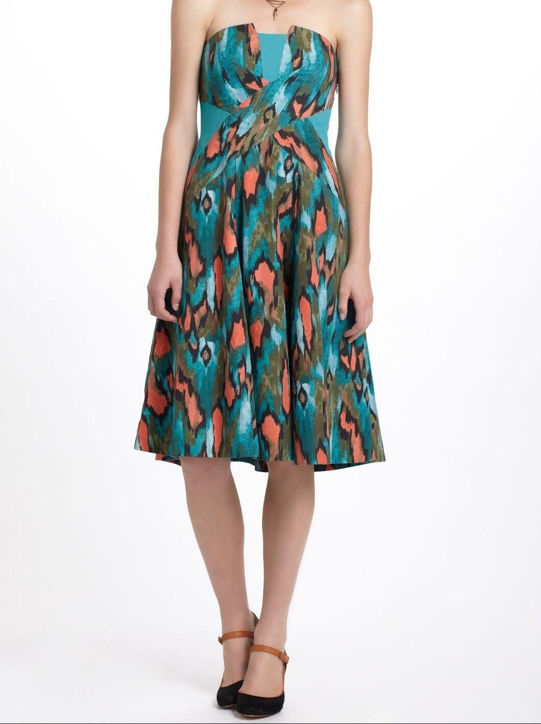 ANTHROPOLOGIE Green Painted Ikat Dress Sz 2 New
