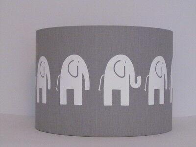 New Handmade Grey White Elephant, White Childrens Lampshade