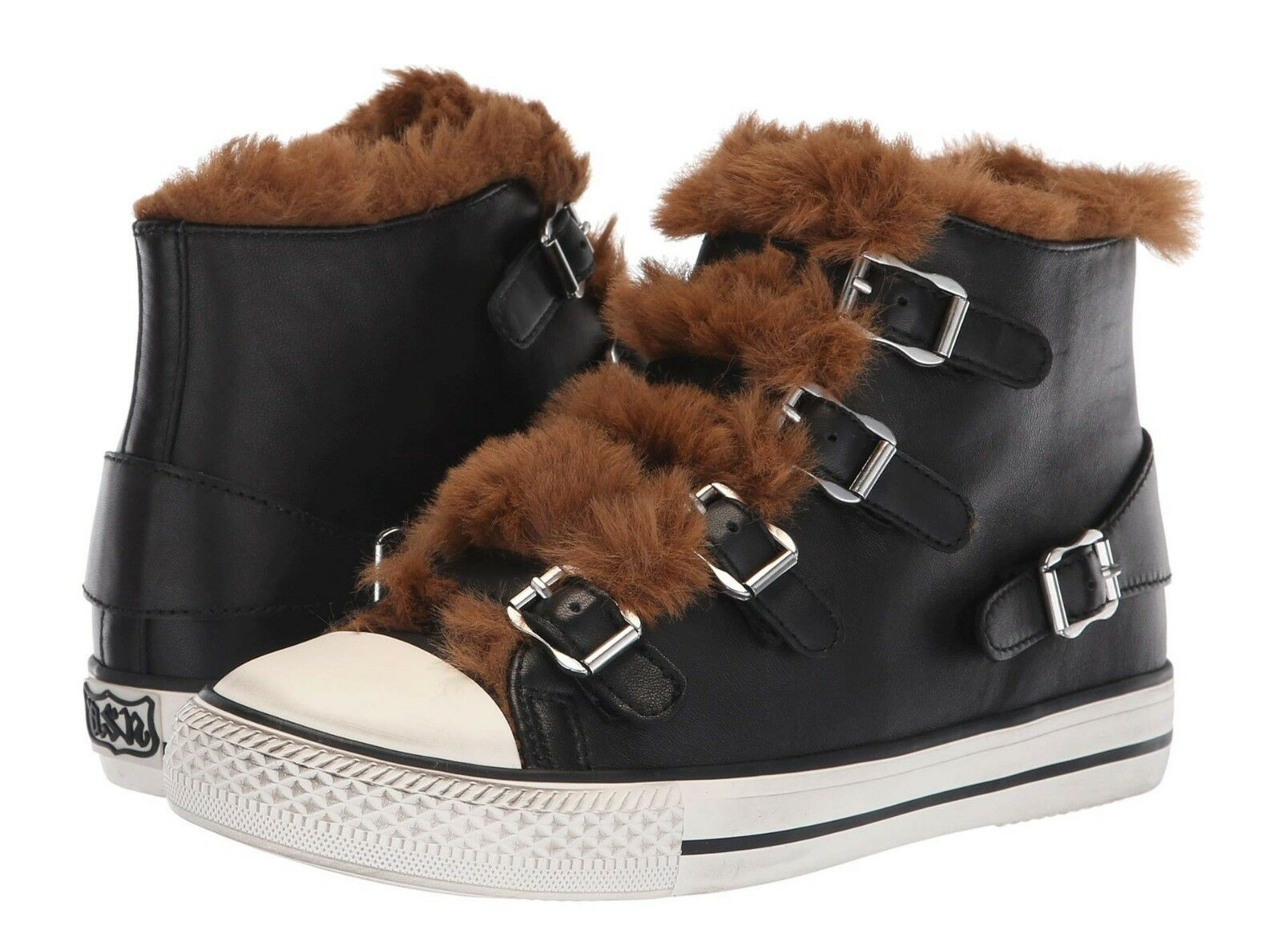 ASH Brand Women's Women's Women's Fashion Valko Leather Soft Faux Fur Sneakers shoes Buckle Boot dece31