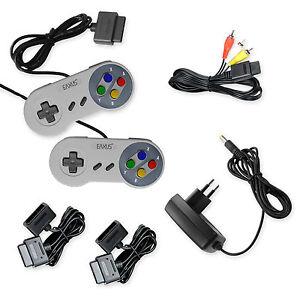 Super-Nintendo-AV-Cinch-Kabel-Netzteil-2x-Controller-2x-Verlaengerung-fuer-SNES