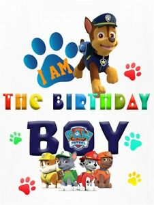 Image Is Loading PAW PATROL BIRTHDAY BOY FABRIC SHIRT IRON ON
