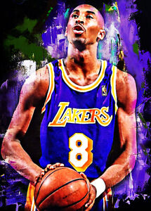 2021 Kobe Bryant Los Angeles Lakers 1/25 Art ACEO Print Card By:Q