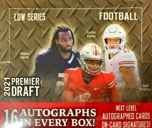 2021 Sage Hit Premier Draft Low Series Football Hobby Box Factory Sealed 16 Auto
