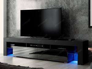 Modern TV Unit 200cm Cabinet Black Matt and Black High Gloss FREE ...