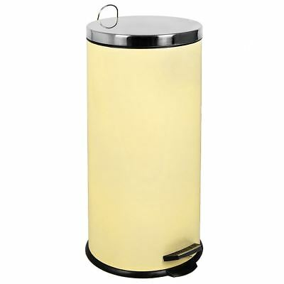 30 Litre Pedal Bin Cream Kitchen Waste Rubbish Large Step Metal By Home Discount