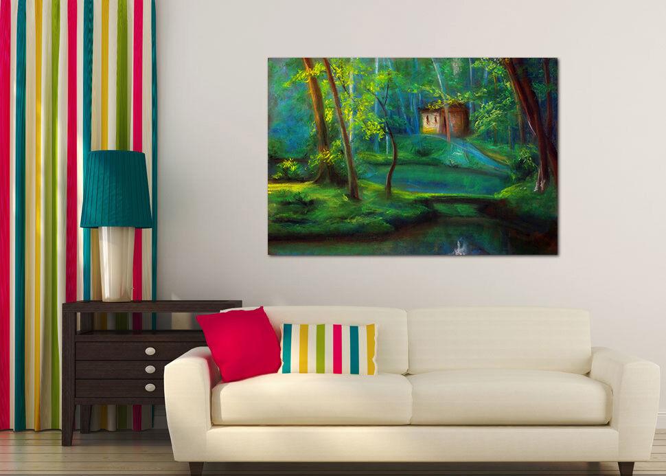 3D Grün Wald  Gras Hütte 9456 Fototapeten Wandbild BildTapete AJSTORE DE Lemon