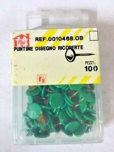 100 Puntine da disegno cancelleria puntina ricoperta plastica verde ufficio