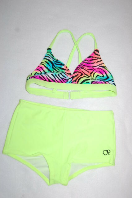 afa8af9dac Girls TWO PIECE Swimsuit NEON LIME GREEN Hot Pink Blue ZEBRA Boy Shorts S 6-