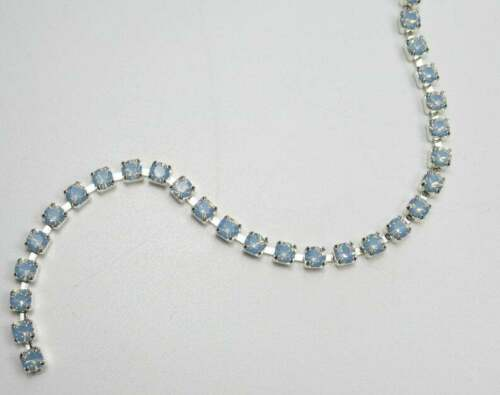 3mm Blue Opal Rhinestone Cup Chain Silver Setting Czech Crystals Choose Length