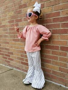 Girls-039-amp-Toddler-Boutique-Bell-Bottom-Outfit-Set-Blush-Stripe-2T-3T-4T-5-6-7-8