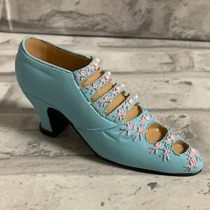 Miniature  Victorian Shoe Collectible Figurine Baby Blue With Faux Pearl Buttons