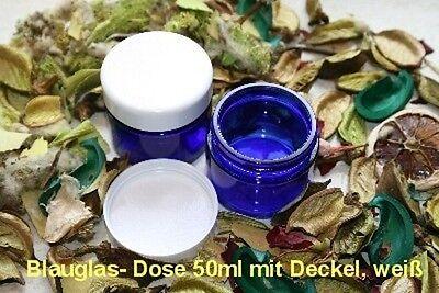 ***5 x 50ml Glasdose, kobaltblau mit Deckel  weiß/Dichteinlage, Kosmetik/HT