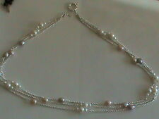 3 Strand 2mm Sterling Silver Rolo Chain Necklace 1 & 3 Pearl Stations BIG Clasp