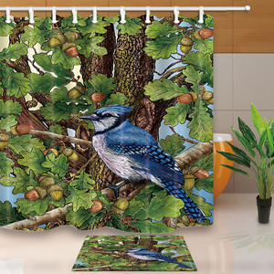 Acorn Bird Leaves Decor with Shower Curtain Hook Set Waterproof Polyester Fabric