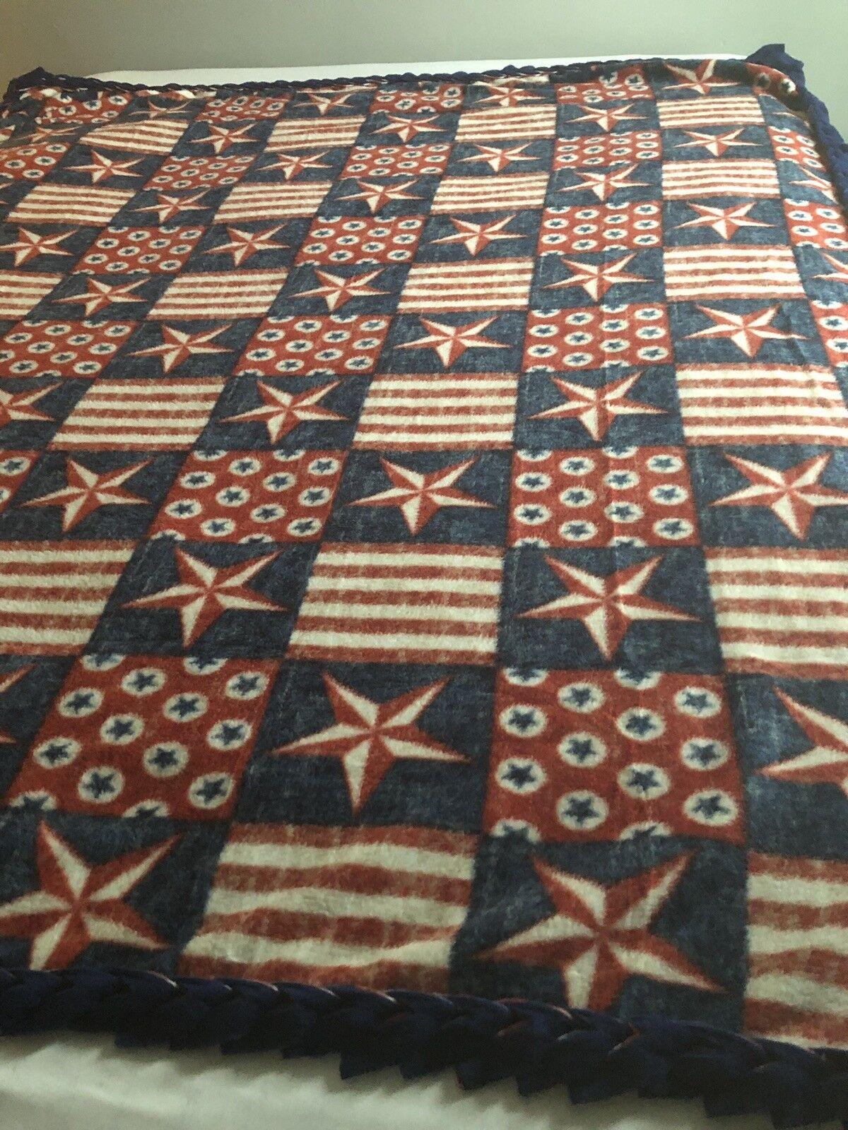 Stars And Stripes Handmade Fleece Blanket With Braided Edge