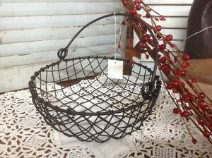 Primitive Black Wire Egg BASKET Round Farm Country Home NWT Farmhouse