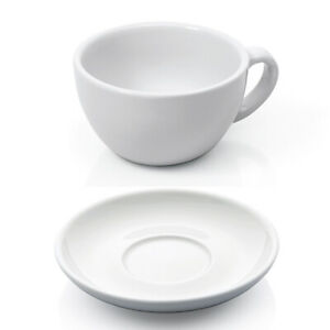 weiß Porzellan Cappuccinotasse Espressotasse Untertasse Kaffeetasse dickwandig Füllmenge 90 ml 200 ml Green Spirit Espresso und Cappuccino Tassen Set 24-TLG