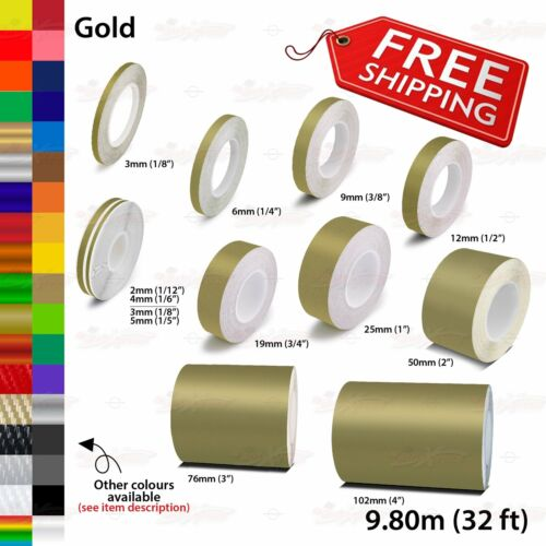 GOLD Roll PIN STRIPE Streamline PinStriping Trim Line TAPE Decal Vinyl Stickers