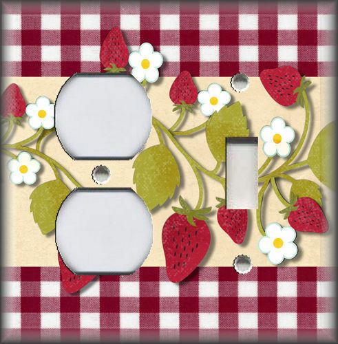Metal Light Switch Plate Cover Kitchen Decor Strawberries Plaid Design Plates Outlet Covers Home Garden
