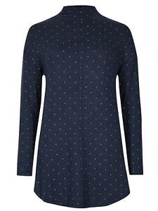 Ex-M-amp-S-Collection-Women-039-s-Spotted-Funnel-Neck-Top-Size-8-12-14-16-18-20-22-24