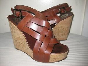 75f769f639f3 TORY BURCH Leather Brown Strappy Cork Wedge Sandals Shoes Women s ...