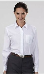 Van-Heusen-For-Her-13V0051-Ladies-Size-12-White-Broadcloth-Shirt-Long-Sleeve-NWT