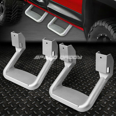 FOR FORD//CHEVY//GMC//DODGE TRUCK PAIR SILVER DIE CAST ALUMINUM SIDE STEPS//NERF BAR