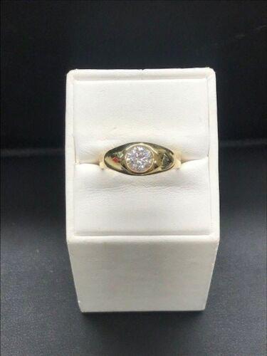18k Yellow Gold CZ Men's Ring