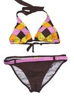Billabong Barra Brown Pink Yellow Checkers Padded 2pc Junior's Bikini Set