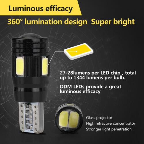 2pcs T10 6000K 270LM High Power White LED Daytime Fog Lights Bulb License Plate