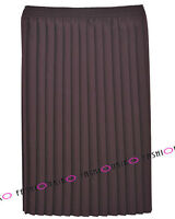 WOMENS PLUS SIZE SKIRTS LADIES TARTAN CHECK PLAIN PLEATED ELASTICATED LONG SKIRT