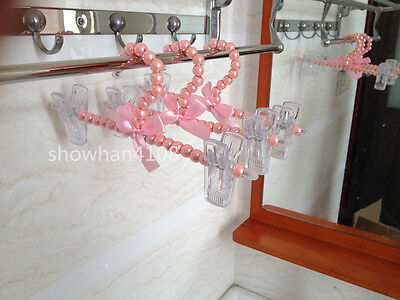 3pc Pink Plastic Pearl Bow Pants Trousers Skirt Clothes Hanger for Children Kid