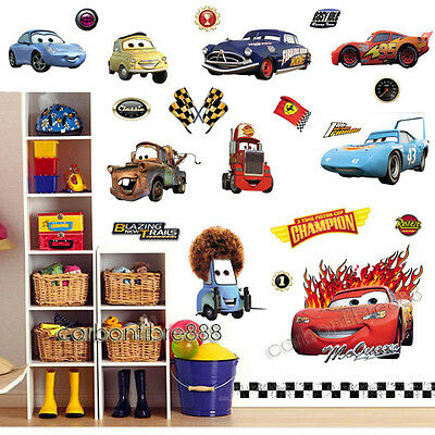 Large Disney CARS Wall Stickers Boys Lightning McQueen Kids Bedroom Decor Decals