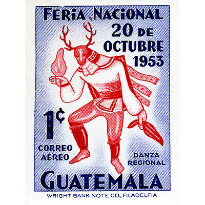 STAMP GUATEMALA 1 ONE CENT NATIVE DANCER COSTUME OCTOBER ART PRINT POSTER CC1636