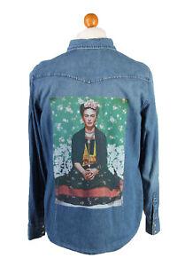 Gap-Frida-Printed-Womens-Denim-Shirt-Long-Sleeve-Reworked-XL-Mid-Blue-SH3992