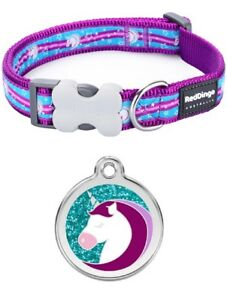 Red-Dingo-UNICORN-Dog-Puppy-Collar-Engraved-ID-Tag-XS-LG-Free-P-amp-P