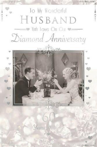 Diamond Anniversary tarjeta para marido macho de hombre plateada frustrado Celebración Fiesta