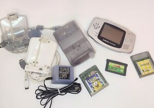 Nintendo Game Boy Advance AGB-001, Silver, With Accessories and Games, Sonic 2,