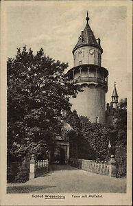 Wiesenburg-Brandenburg-AK-1910-Schloss-Turm-mit-Auffahrt-Bergfried-Palace-Tower