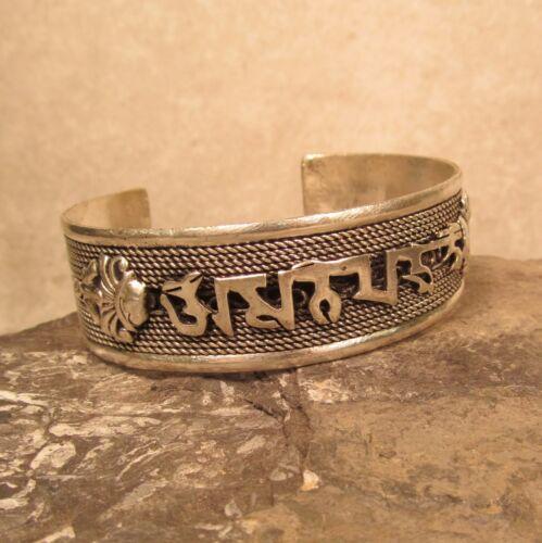 Tibetan Nepal Compassionate Mantra Mixed Metal Adjustable Unisex Cuff Bracelet