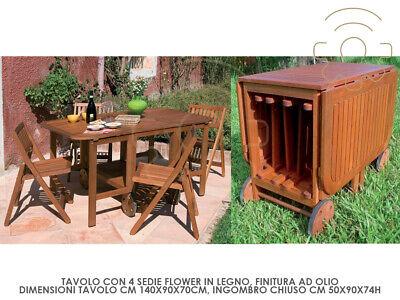 Tavolo Consolle Con Sedie Pieghevoli.Tavolo Consolle Pieghevole In Legno 4 Sedie Aperto Cm 150x90x70h