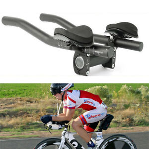 Bike-Road-Mountain-Bicycle-Alloy-Triathlon-Aero-Rest-Handle-Bar-Clip-On-Tri-Bars