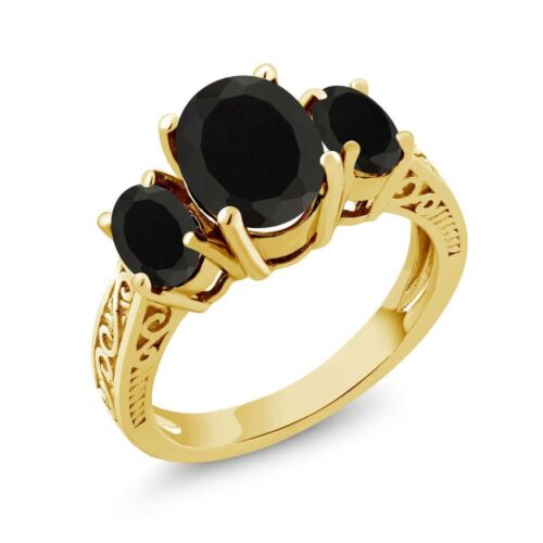 2.41 Ct Oval Black AAA Onyx 925 Yellow Gold Plated Silver 3-Stone Women/'s Ring