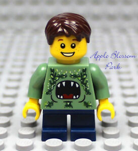 NEW-Lego-City-MINIFIG-BOY-w-Green-Monster-Torso-Short-Blue-Legs-amp-Brown-Hair