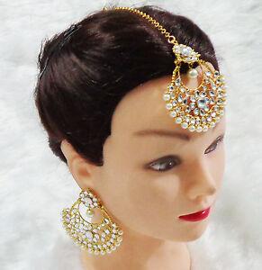 Image Is Loading Heavy Bridal Maang Tikka Earring Set Indian Wedding