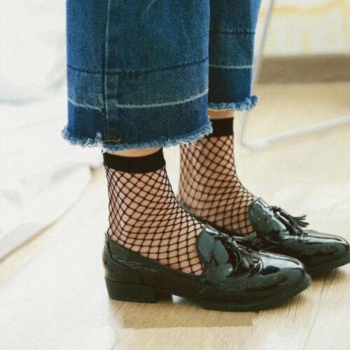 Vintage Women Ruffle Bow Fishnet High Ankle Socks Mesh Lace Fish Net Short Socks