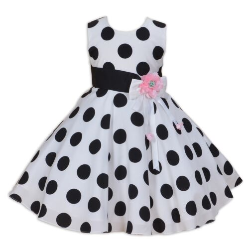 Girls 50/' Style Party Dress White and Black Dotted Dress 3 4 5 6 7 8 Years