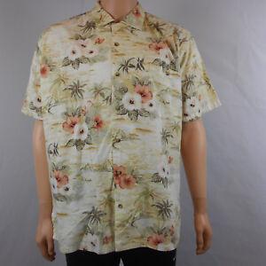Weekender-Herren-Hawaii-Blumenmuster-Rayon-Shirt-Button-Front-Kurzarm-L-Large
