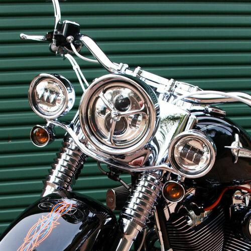 "7/'/' Motor Headlight Visor Style Decorate Trim Ring Chrome 4.5/"" Auxiliary Lights"
