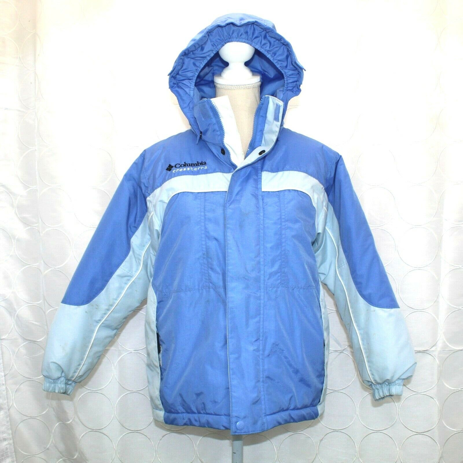 Columbia Boys Crossterra Winter Coat Sz 10 12 bluee Detachable Hood Ski Snowboard
